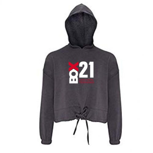 WOMEN'S CROPPED OVERSIZE HOODIE CHARCOAL